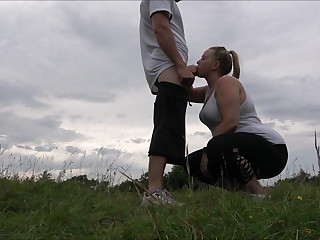Public thing embrace for young girlfriend and facial
