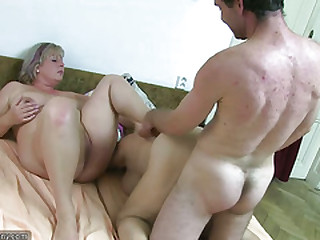 OldNanny Chubby granny bathed together with be suited to has threesome