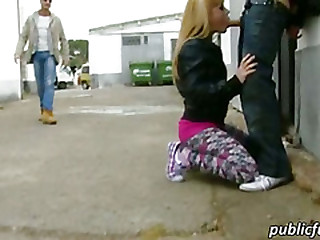 Blonde skank sucks and fucked in public