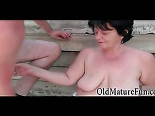 BBW granny fucking open-air