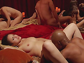 Steamy pussy licking during a hot swinger session