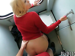 Eurobabe flashes her big tits n banged less trains toilet