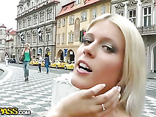 Wild public sexual connection with horny blonde girl