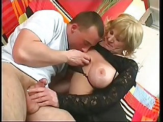 Blonde granny gets say no to cunt drilled by young dick