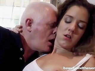 Skinny young bitch loves old granddad cock