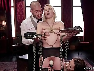 Comme ci young babe has rough trinity bdsm coition to merging positions